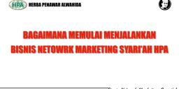 Bagaimana Mulai Menjalankan Bisnis Network Marketing Syariah HPA