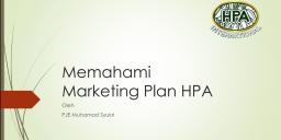 Memahami Marketing Plan HPA