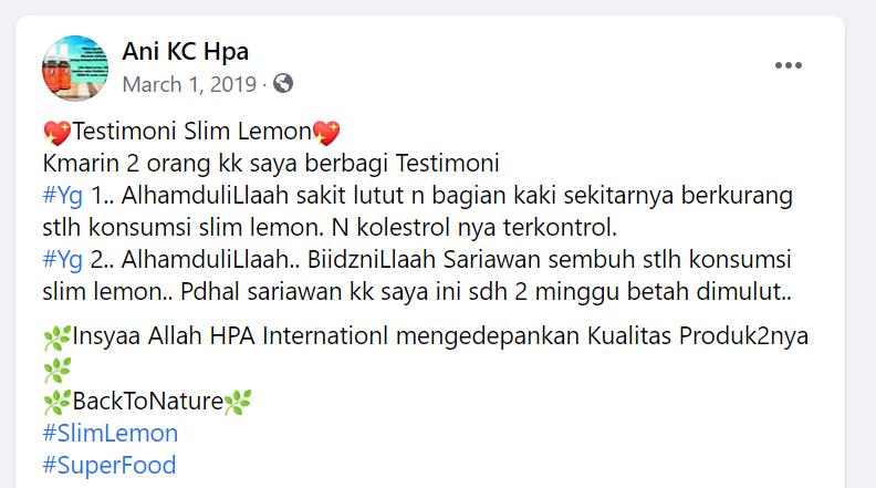 Testimoni Slim Lemon 3