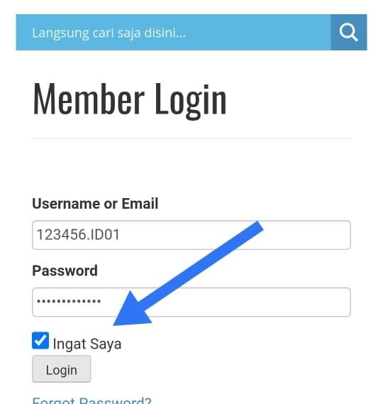 Isikan Nomor Member HPA Anda dan password yang telah diberikan