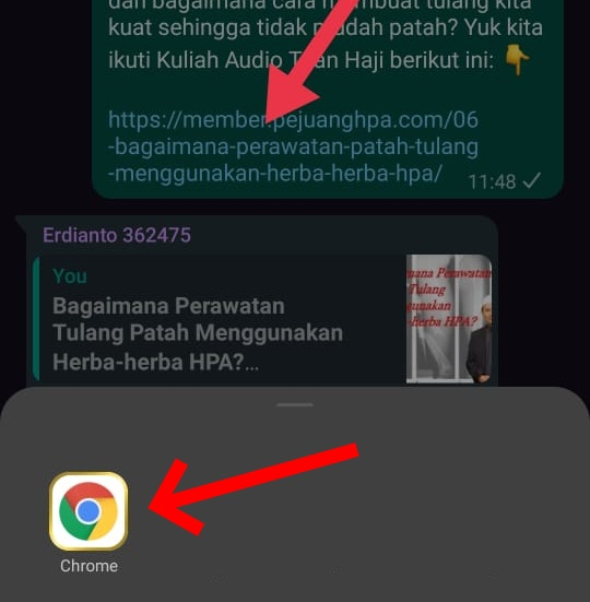 Klik ikon Chrome untuk membuka artikelnya